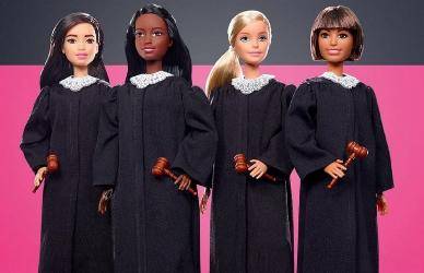 Four of the new Judge Barbie dolls