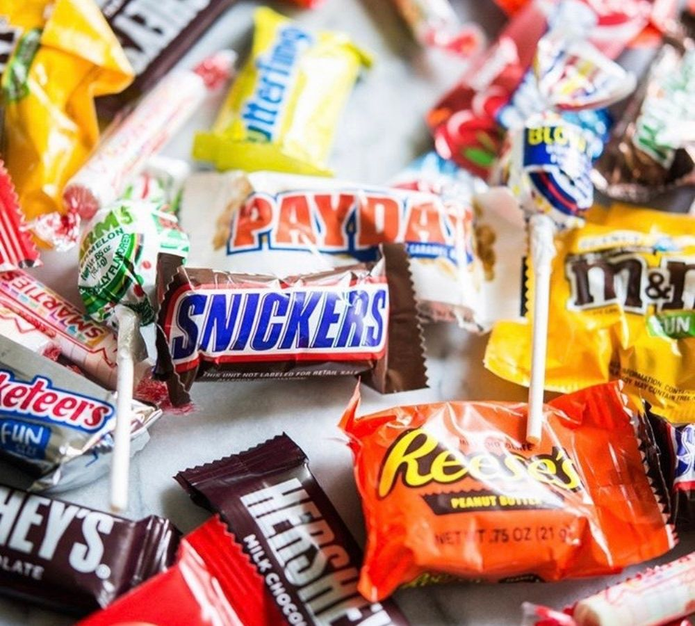 Candy bars on a table