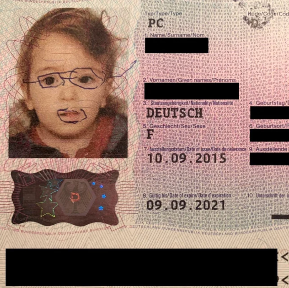 Girl drew glasses and a goatee onto her passport