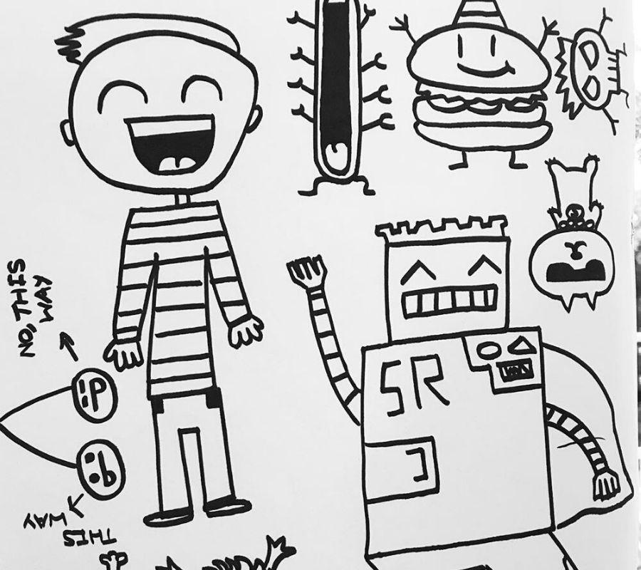 childrens doodles little soccer scence