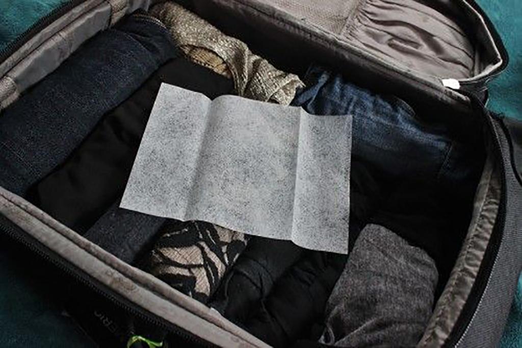 Dryer sheet in suitcase