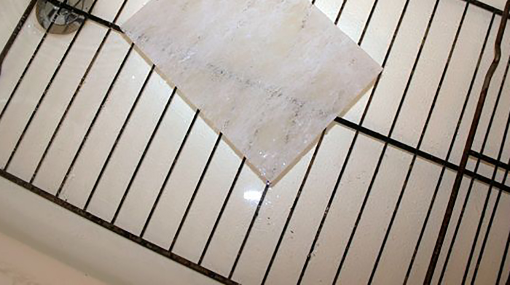 Dryer sheet on top of an oven rack