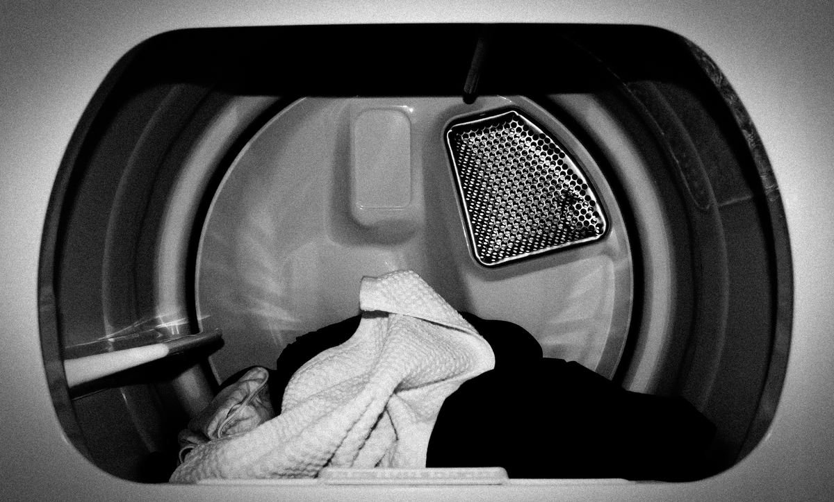 inside shot of a dryer clothes in there