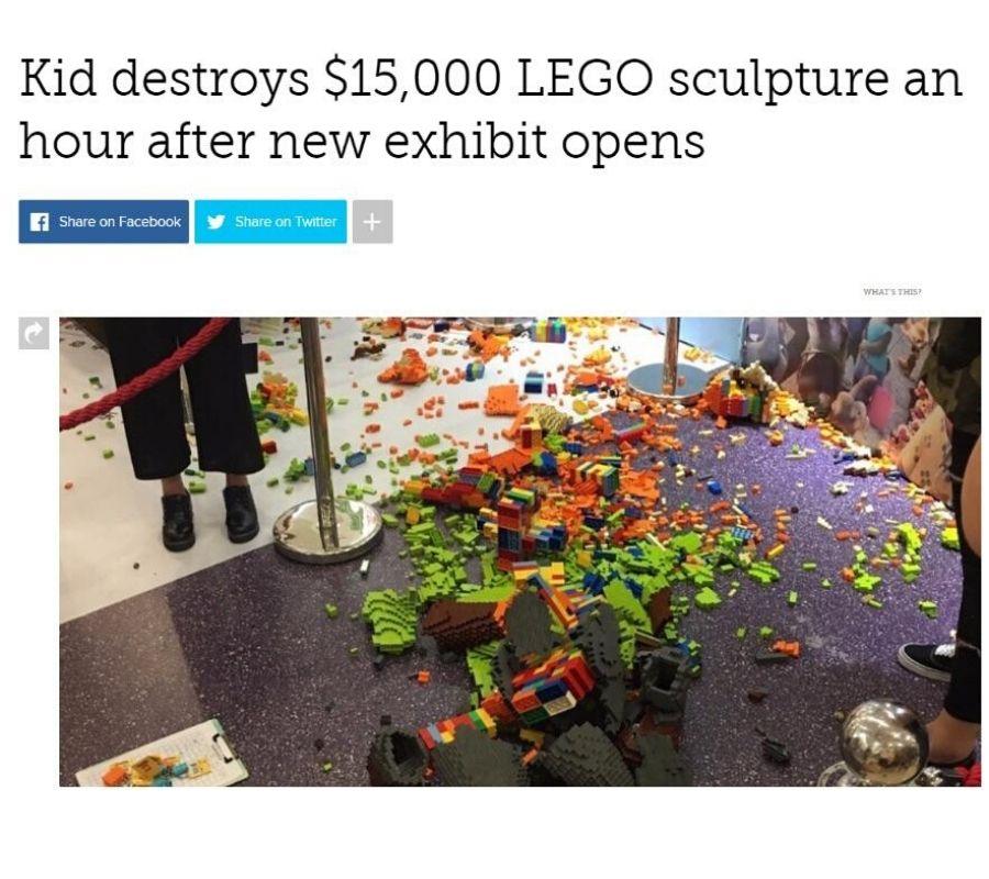 a kid destroyed a $15,000 lego sculpture