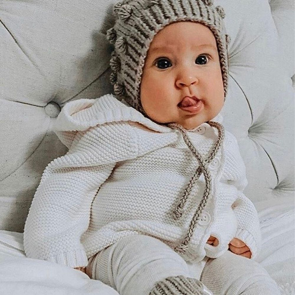 Baby bundled up in warm clothes