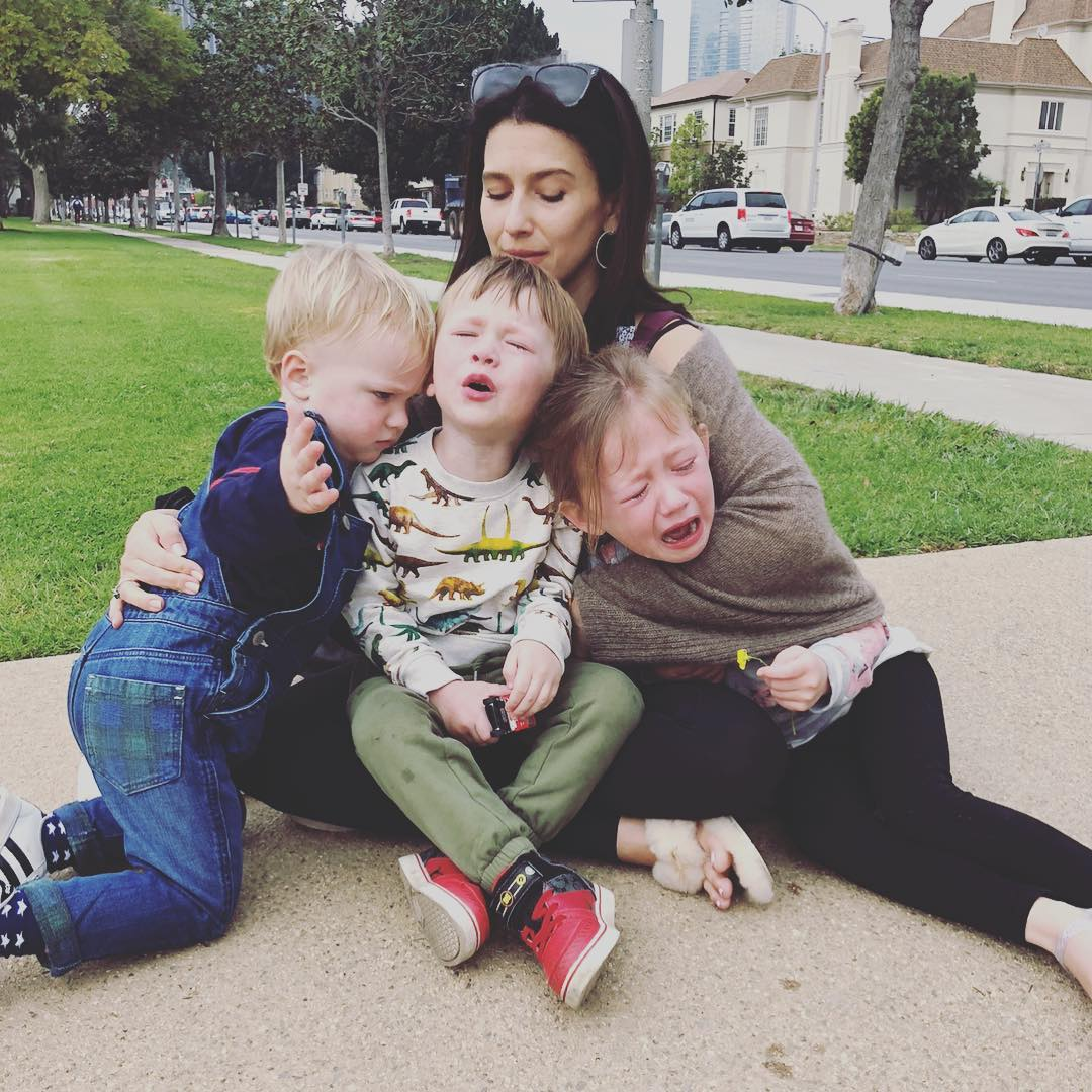 hilaria baldwin with her three children in chaos