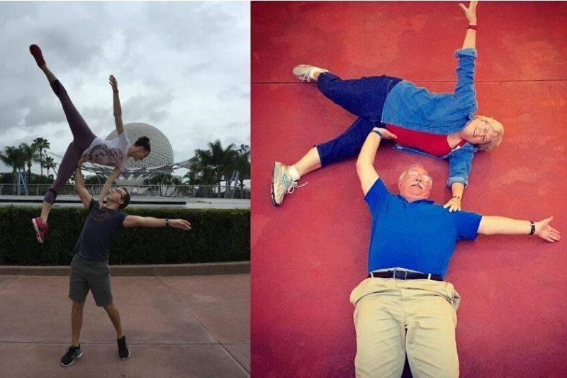 parents recreated their son's picture at Disney