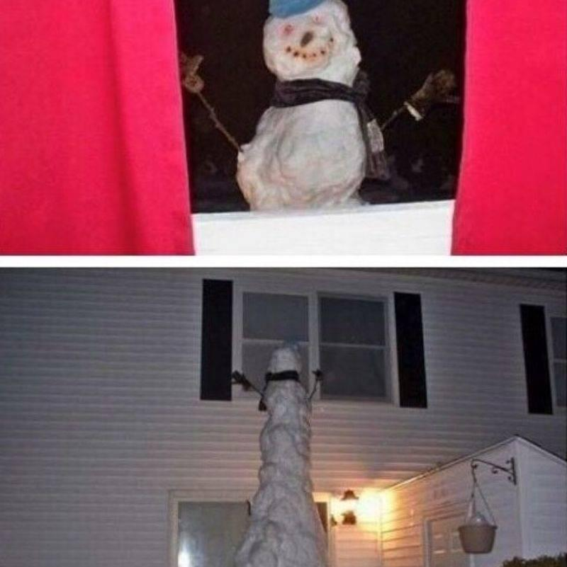 mom built a snowman that looks into the kid's window