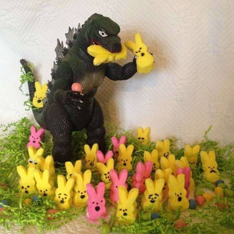 mom set up Godzilla eating Peeps
