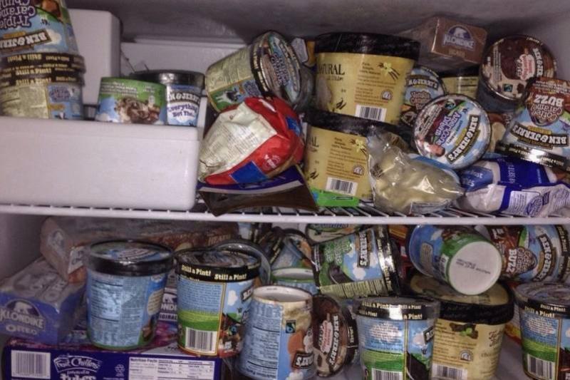 tons of icecream in freezer