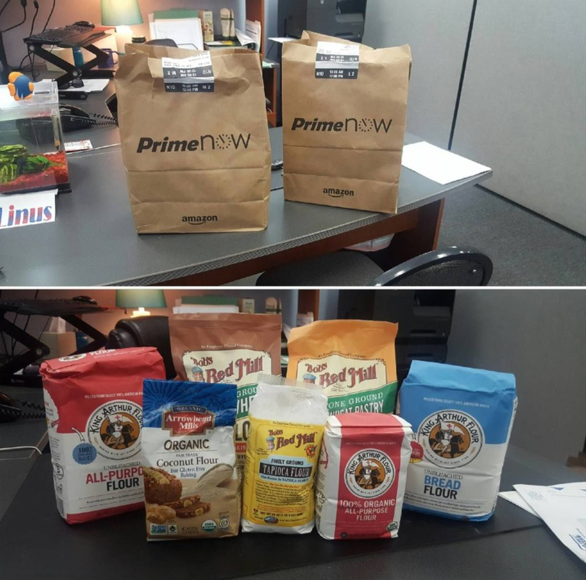 man sends delivery of packages of flour instead of flowers to girlfriend's work