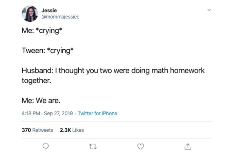 crying while helping with math