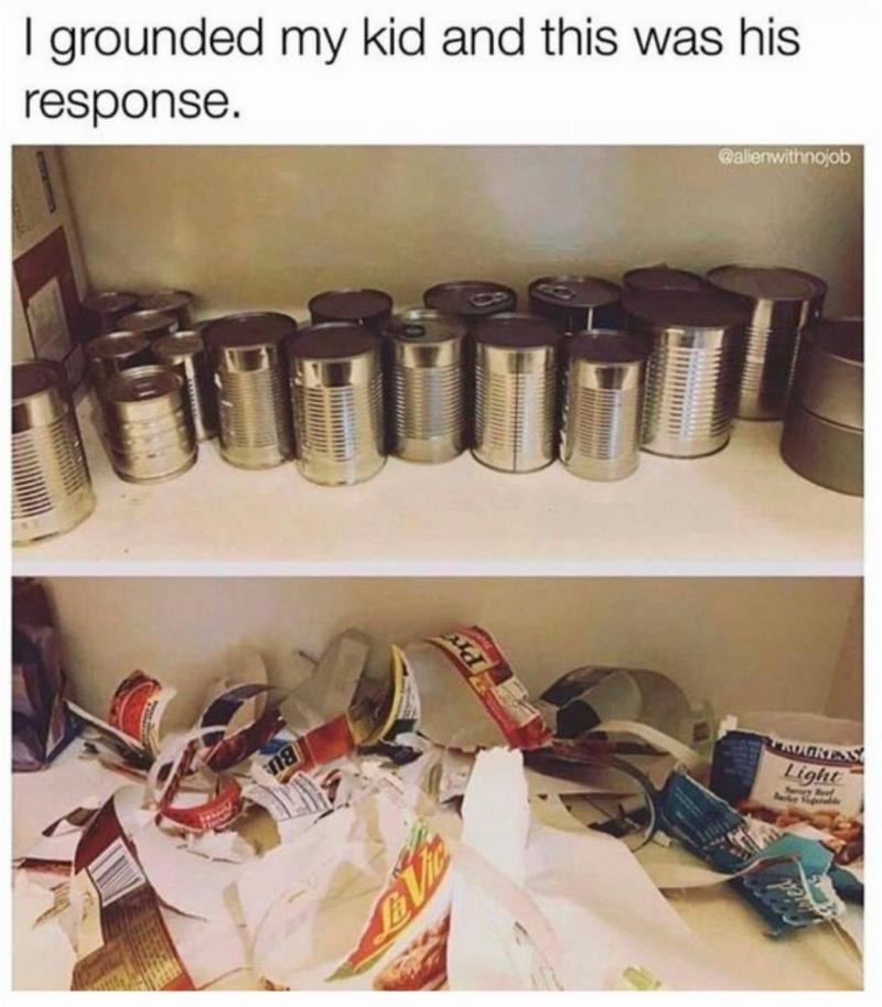 after being grounded, kid rips all the labels off the cans in the pantry