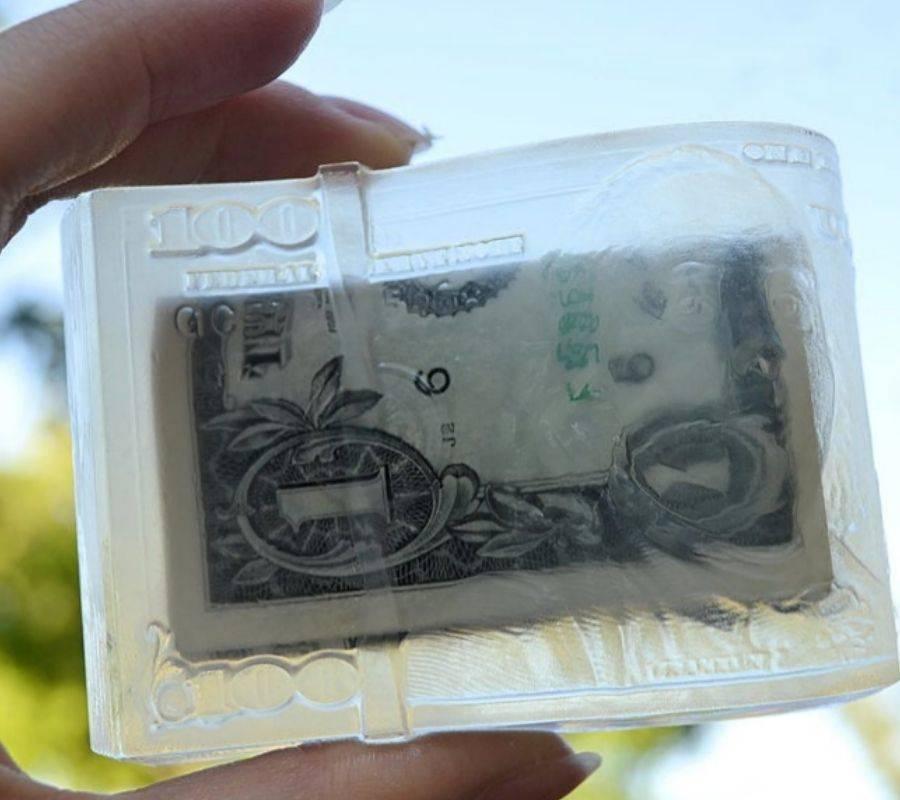 dollar soap in hand