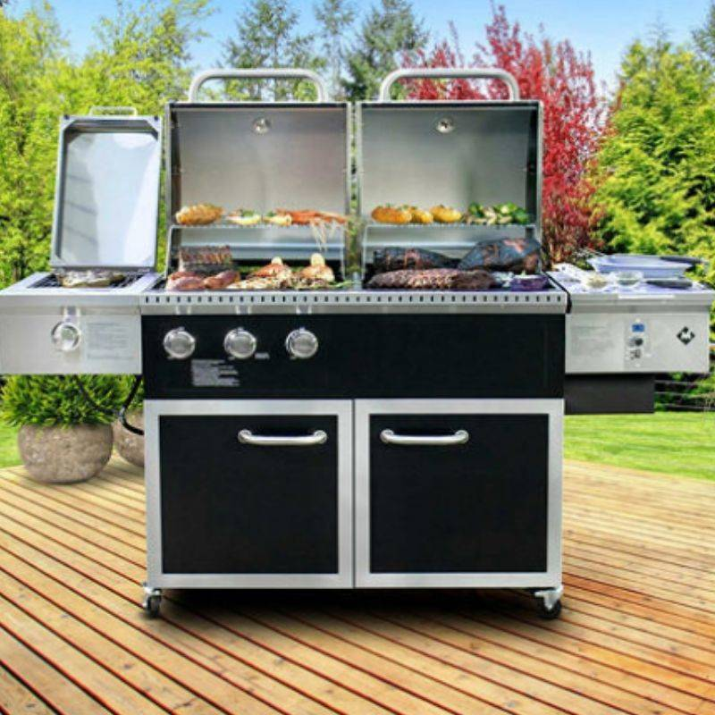 pellet and gas barbecue