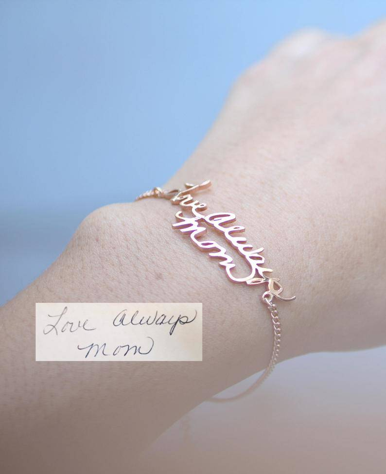 love always mom handwritten bracelet