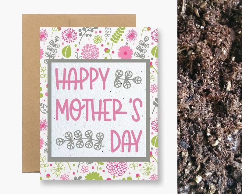 happy mothers day card with seeds