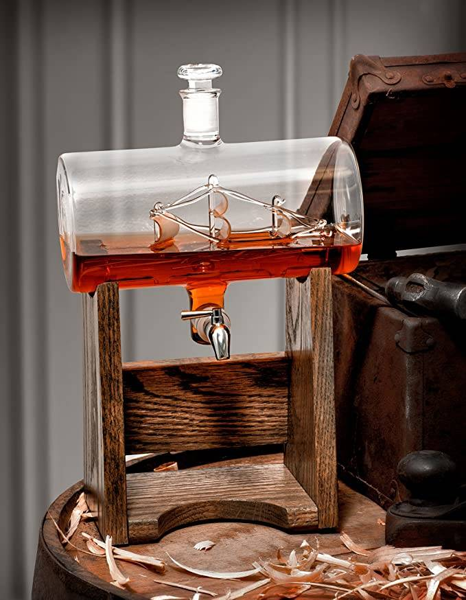 ship decanter filled