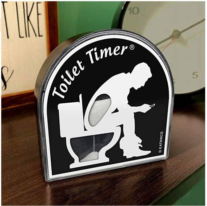 toilet timer on shelf