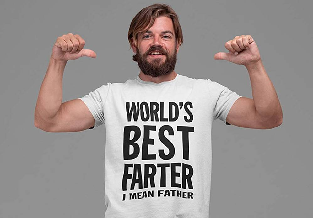 man with two thumbs up wearing world's best farter i mean father tshirt