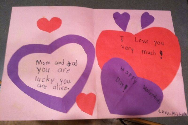 a note from a kid to their parents saying how they're lucky to be alive
