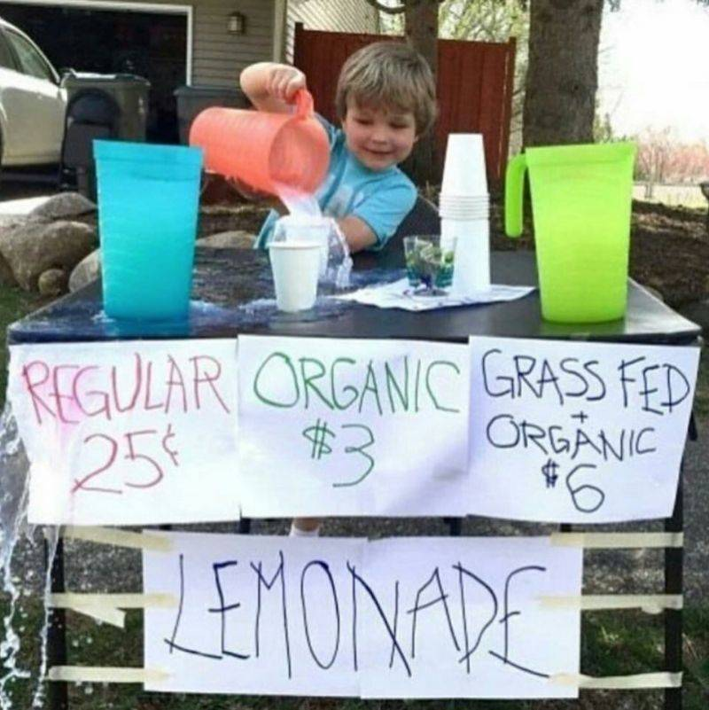 kid with a lemonade stand
