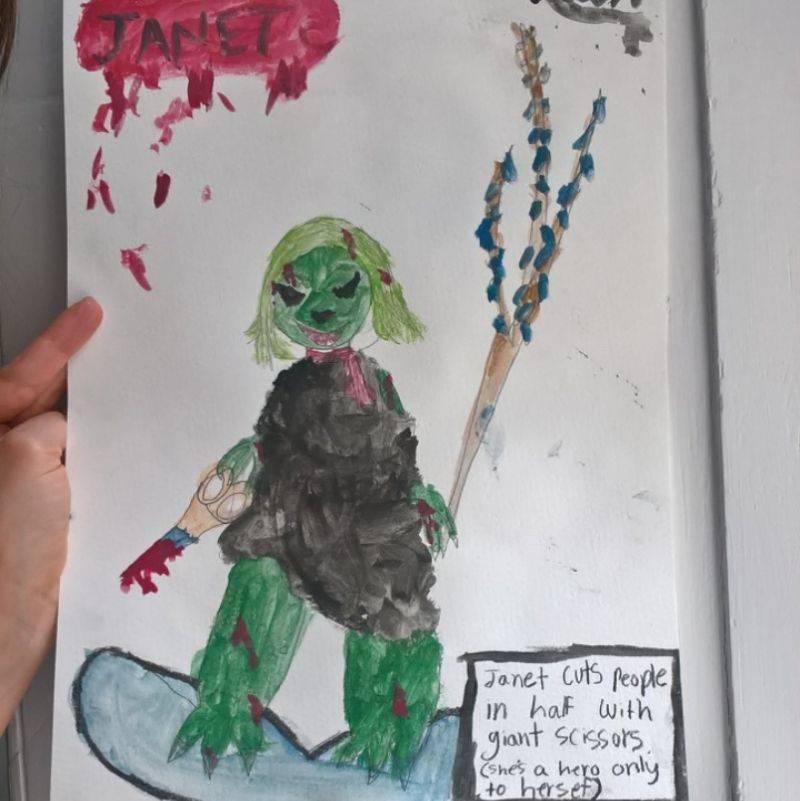 kid made a scary drawing at camp
