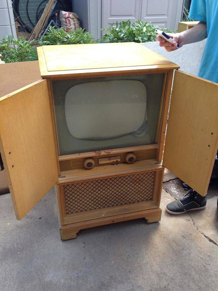 grandma giving the gift of old tv