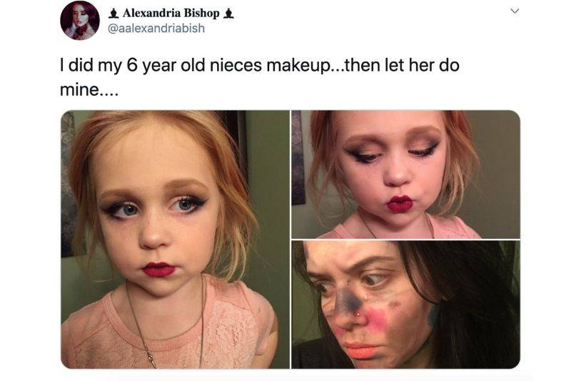 woman let her niece do her makeup
