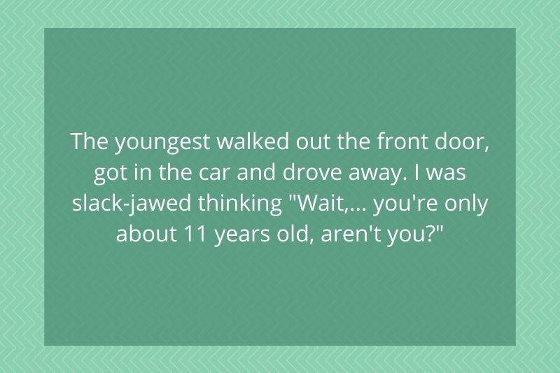 Post: The youngest walked out the front door, got in the car and drove away. I was slack-jawed thinking