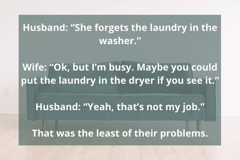 couple arguing about whose job the laundry is