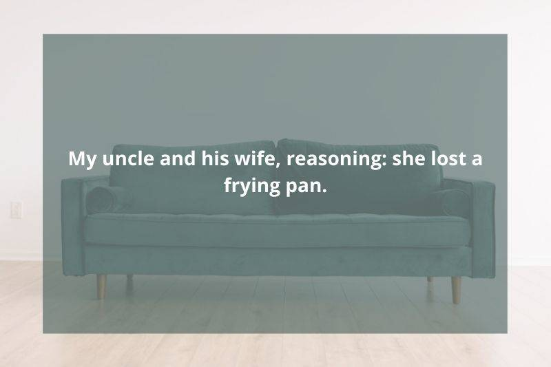 husband called therapist because she lost the frying pan