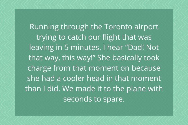 daughter had a much cooler head than her dad in a busy airport
