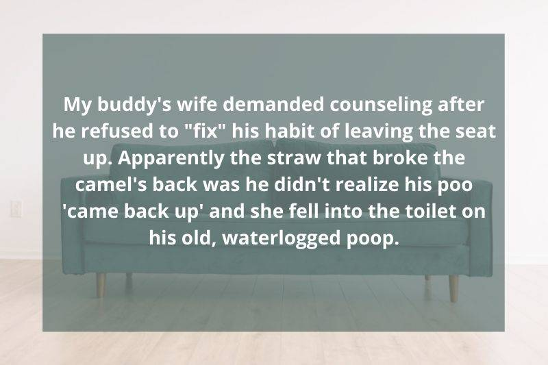 someone took their partner to therapy because they left poop in the toilet