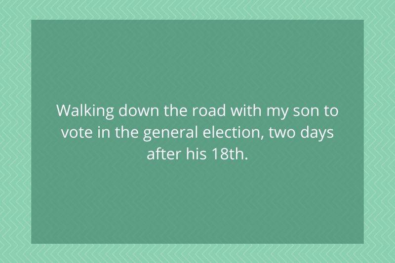 Post: Walking down the road with my son to vote in the general election, two days after his 18th.