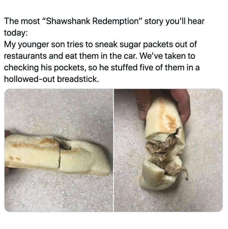 a kid put sugar packets in bread