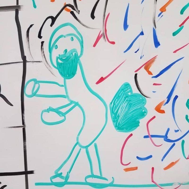 little kid drew their dad farting