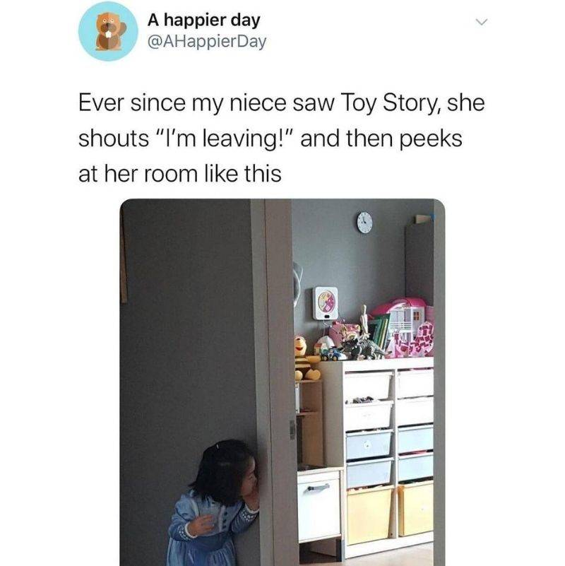 little kid thinks their toys come alive like Toy Story
