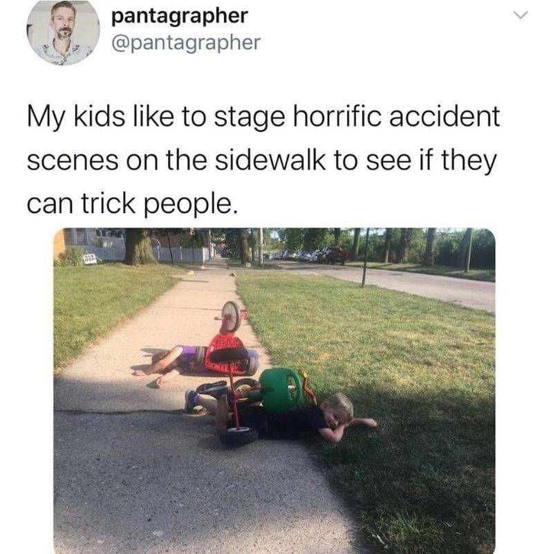 kids like to pretend they are in a wreck
