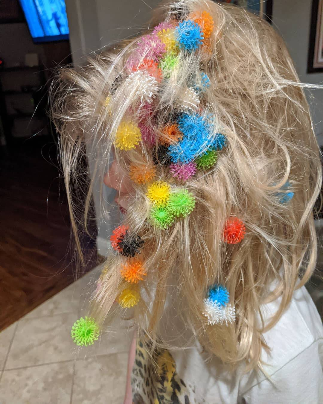 sticky toys stuck in kid's hair