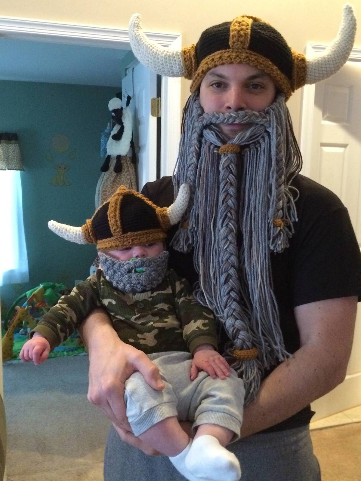knitted viking hats from grandma