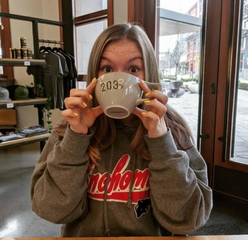teen girl drinking coffee