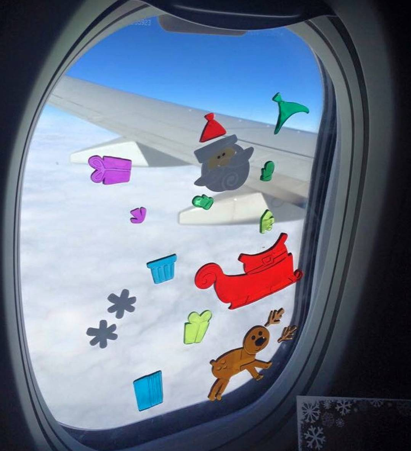 gel stickers on airplane window
