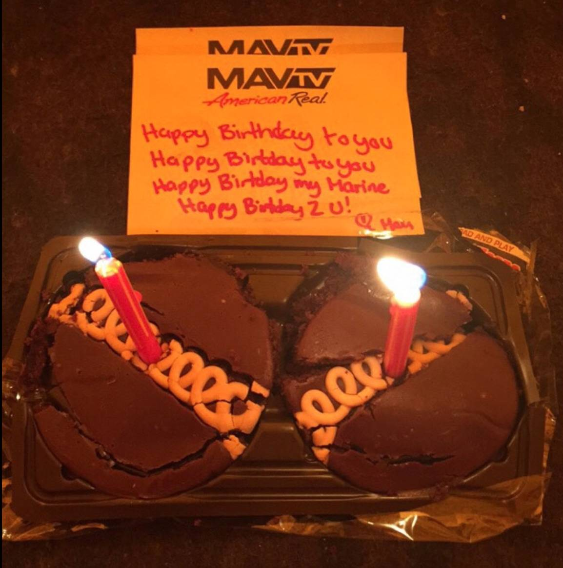 two cupcakes with note: Happy birthday to you, happy birthday to you, Happy birthday my Marine, Happy birthday 2 u! Love, Mom
