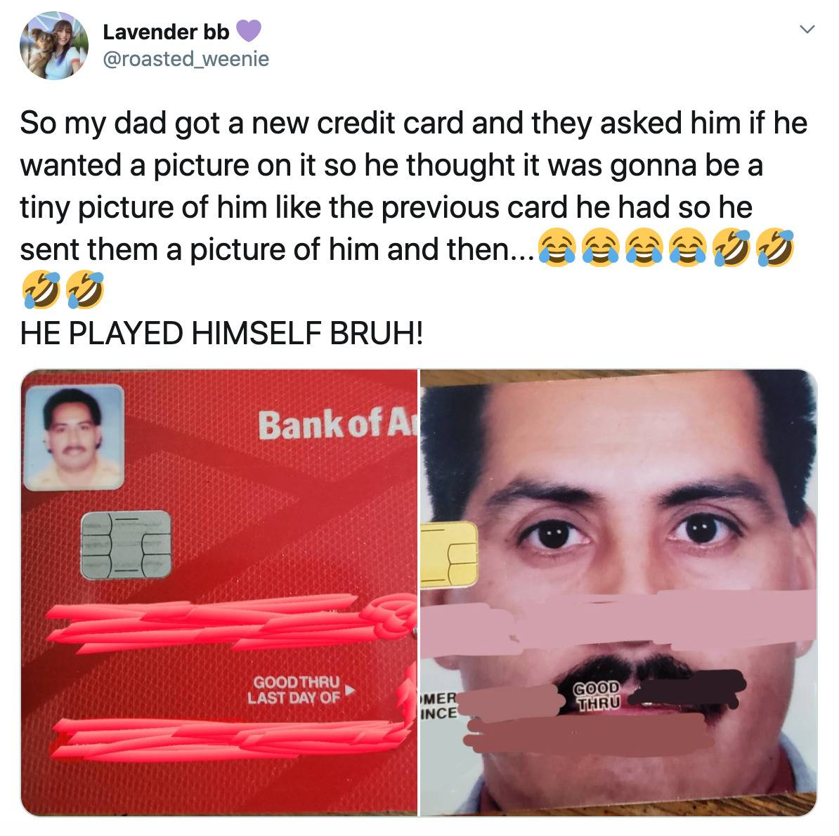 man accidentally puts his face as his credit card background