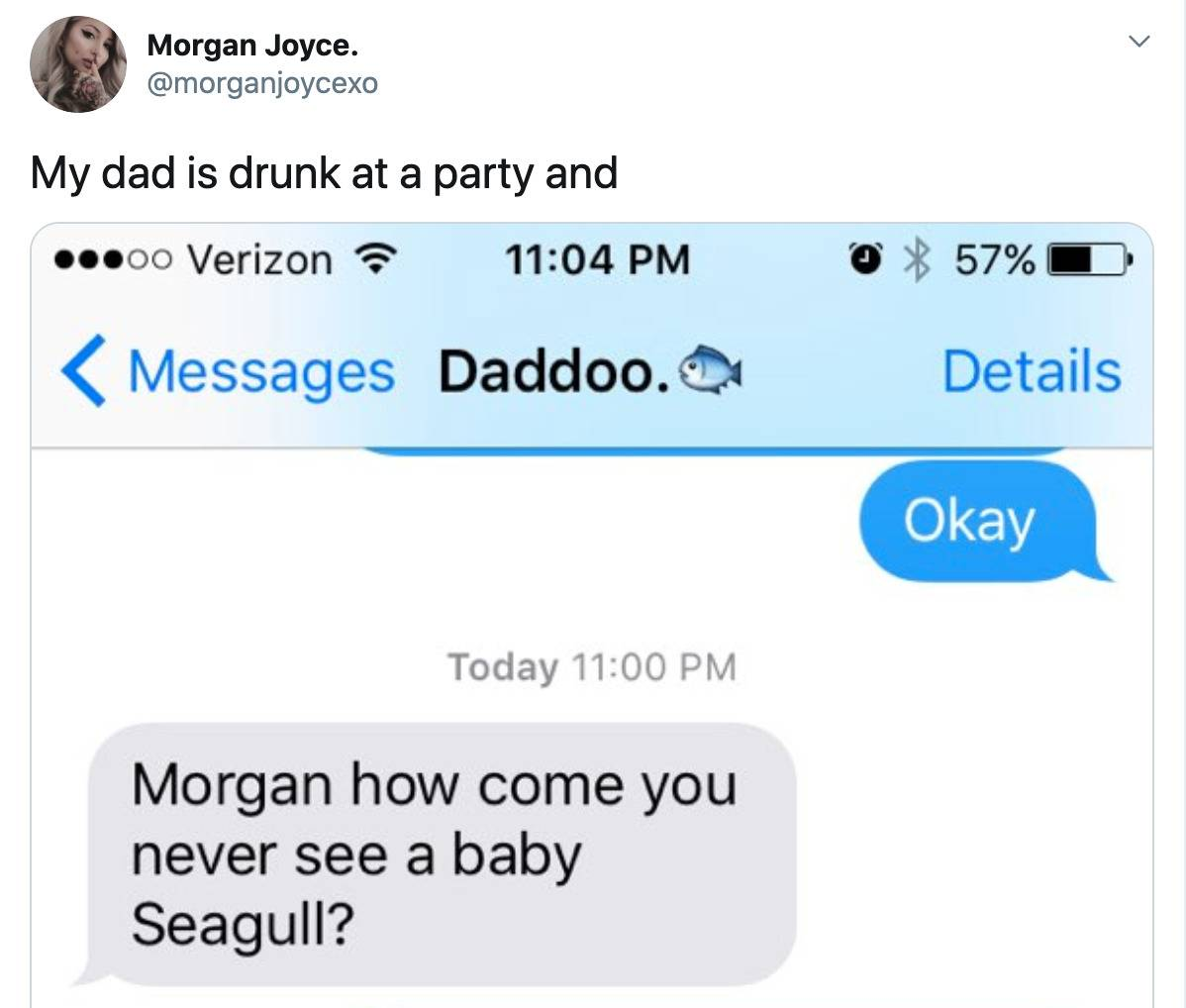 dad drunk at party texts daughter