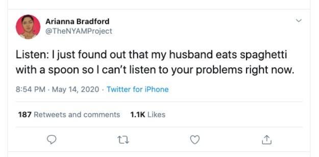 husband eats spaghetti with spoon