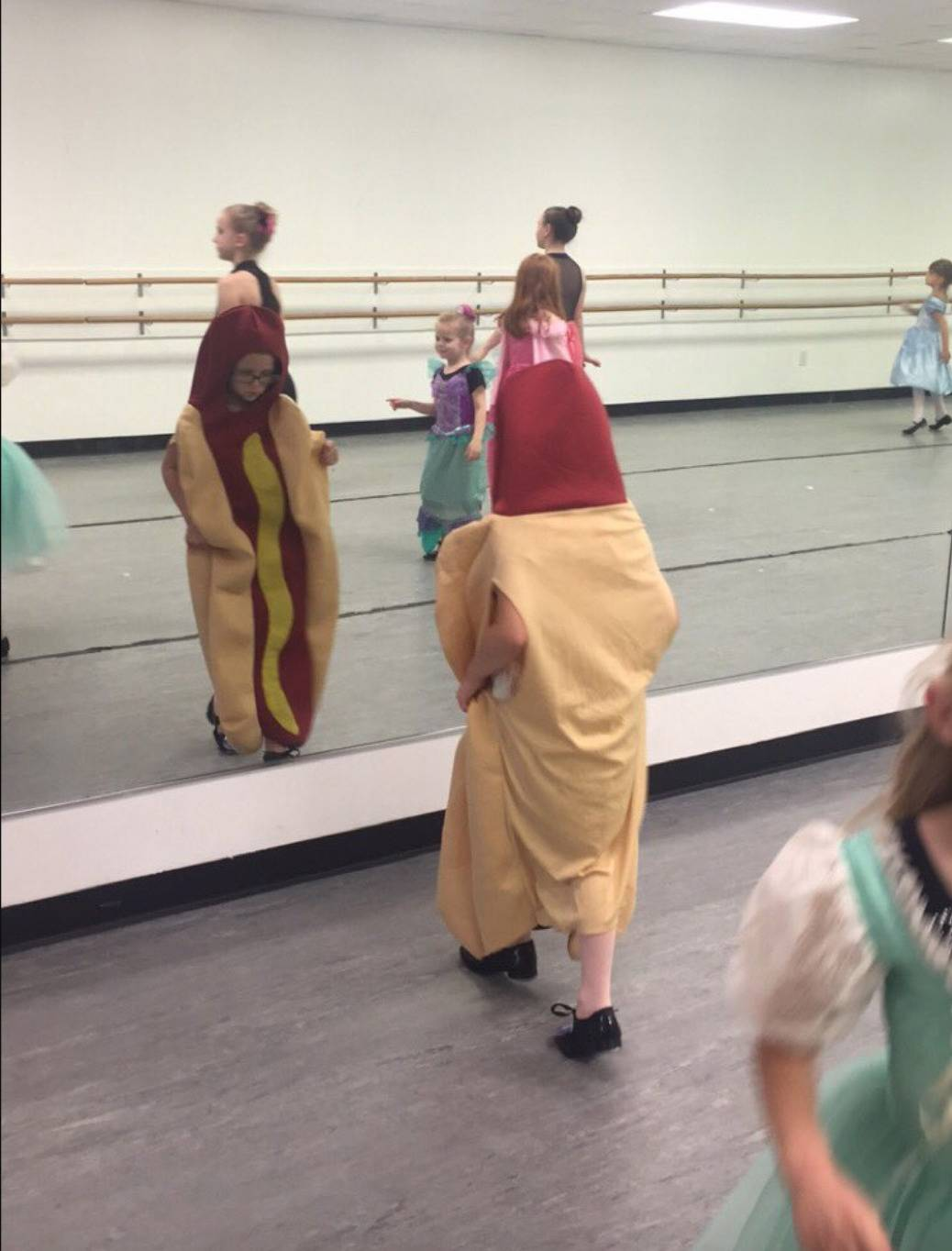 little girl dressed up as a hotdog on princess day