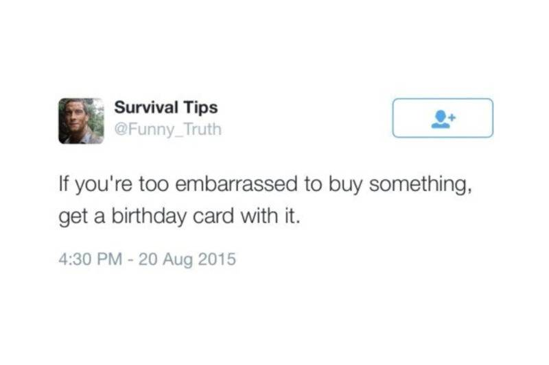 if you're too embarrassed to buy something, get a birthday card with it