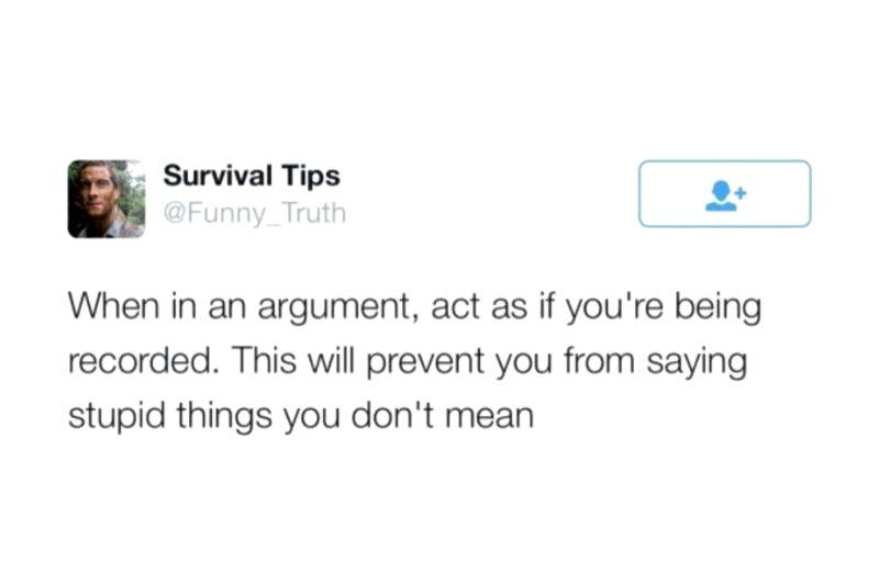 When in an argument, act as if you're being recorded. This will prevent you from saying stupid things you don't mean